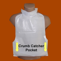 Disposable LDPE Adult Bib with Crumb Cather