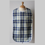 Adult Bib Blue Yellow Checkered Waterproof