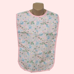 Adult Bib Floral Pink-Blue Waterproof Back Barrier